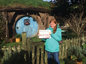 Veronica Wells, 12, took her Stow Independent to Hobbiton during her June trip to New Zealand.