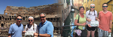 The Donahue family traveled to Italy this summer, visiting Siena, Florence, Venice and Rome -- pictured above are Cam, Brie and Tim at Colosseum, and  Lauren, Brie and Cam along one of the many canals in Venice
