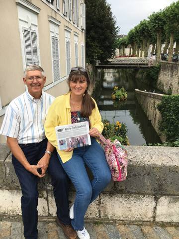"""Bill and Mary Ann Hofmann returned to Montargis, France where they lived while Bill served as a liaison officer to the French Army Telecommunications School. Montargis, about 70 miles south of Paris, sometimes bills itself as the """"Venice of the Gâtinais"""" due to its numerous canals and bridges and still retains a medieval charm in the downtown area."""