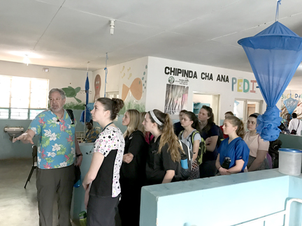 The program participants on a tour of the hospital on their first day in Malawi. Courtesy Don Hangen