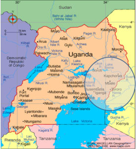 Faith Radio Uganda broadcast area map