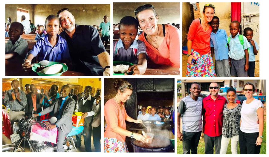 Thankful in Uganda photo collage of visit by Brad and Shawn Hall