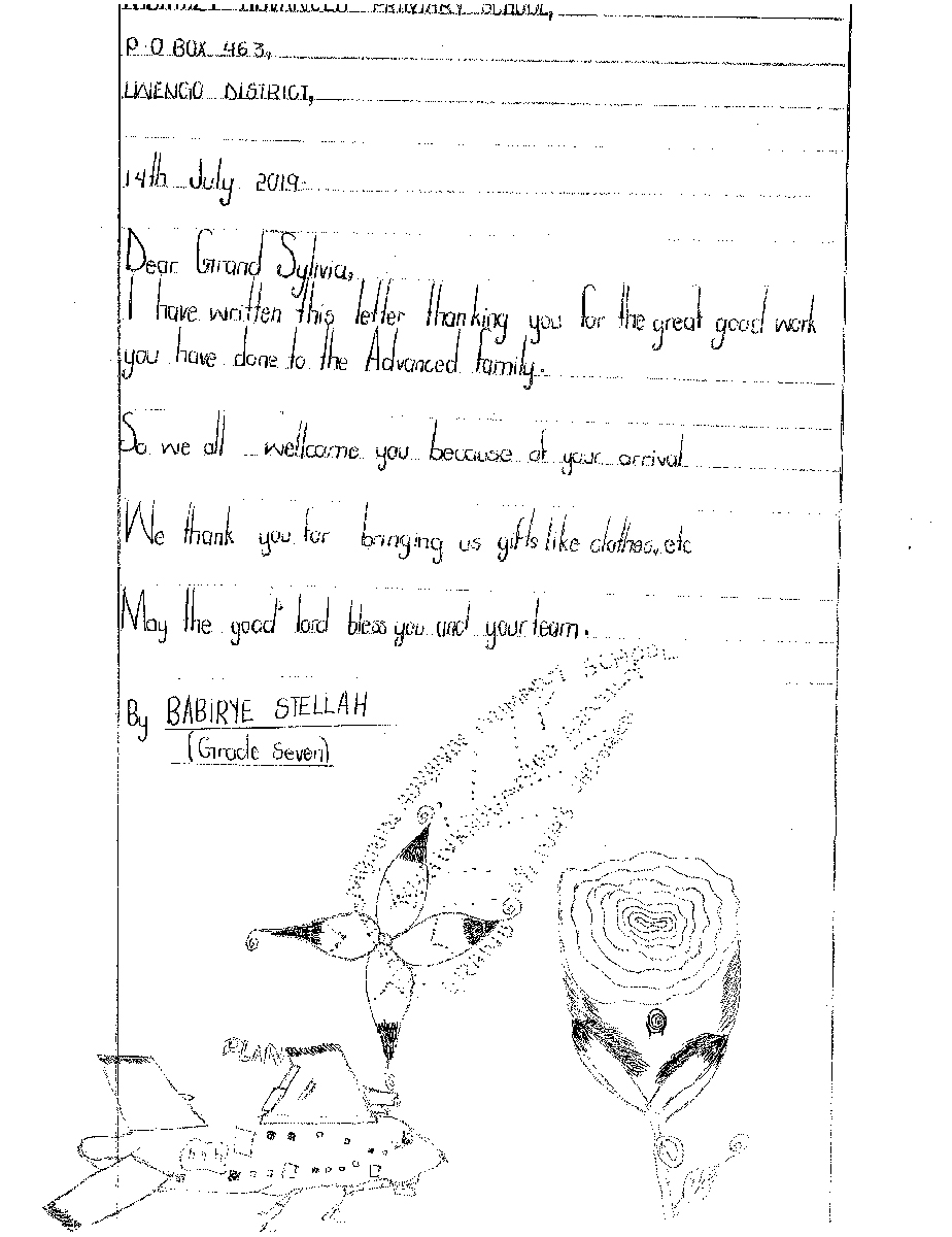 Letter From child, Babirye.