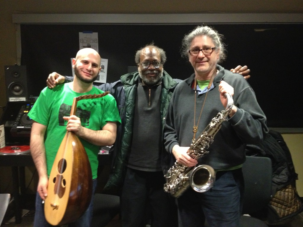 SoSaLa w. WNUR Chicago host Eric Ricks and Alex Wing (oud), March 8, 2013 (Photo by Jessica Jiayue Peng)
