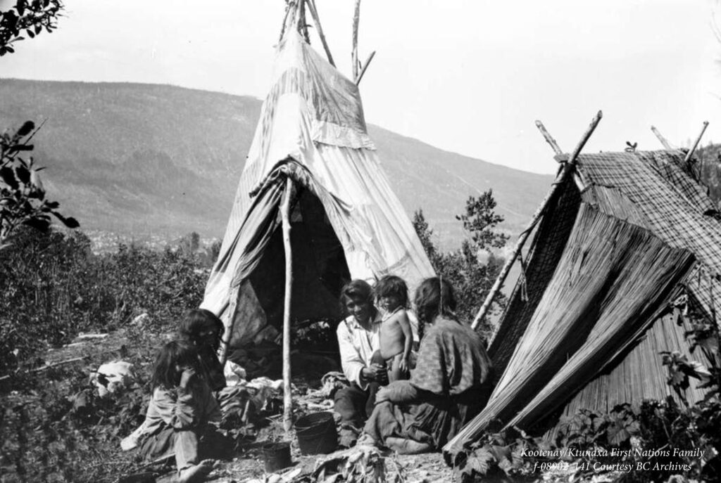 An old image of a Ktunaxa camp