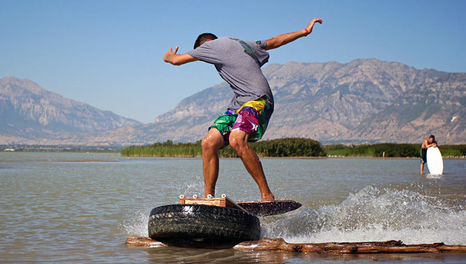 utah lake skim boarding