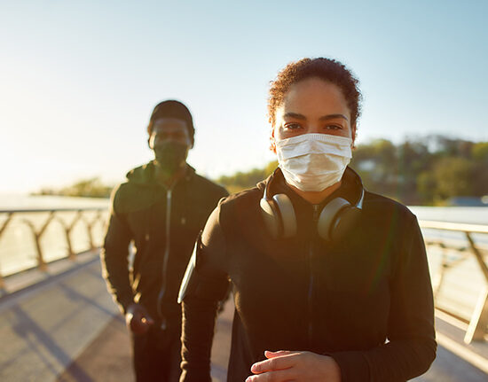 People walking with masks