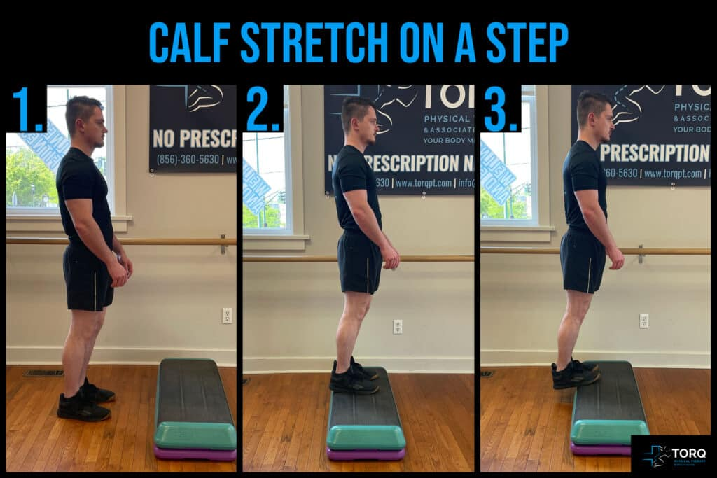 calf stretch on step back pain with fishing