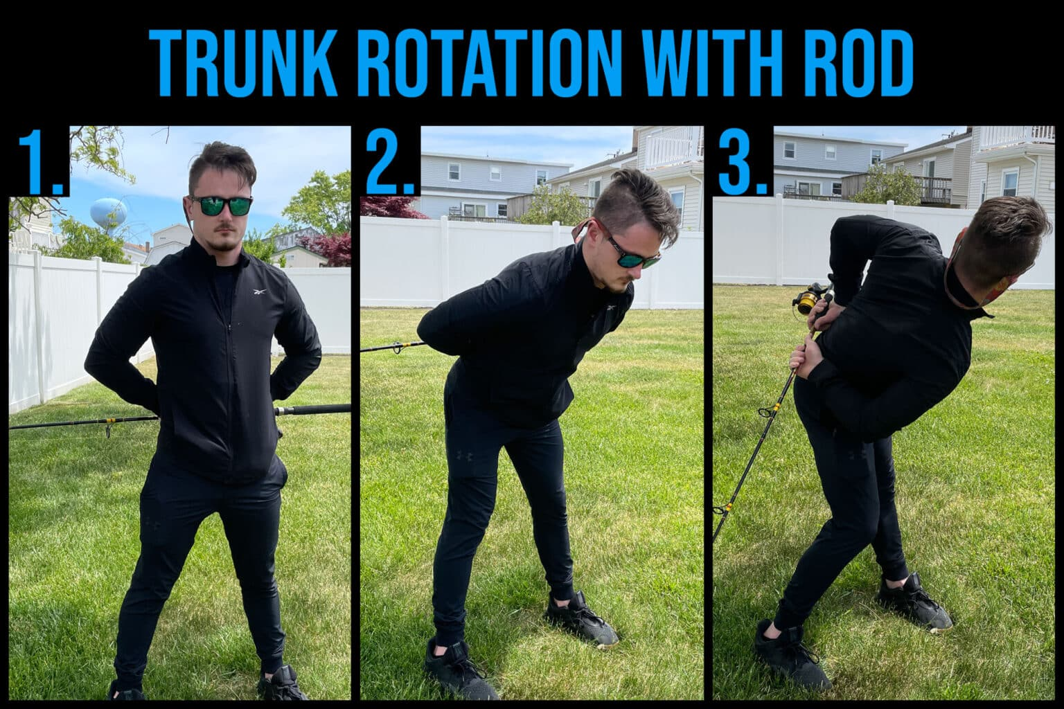 trunk rotation with rod back pain with fishing