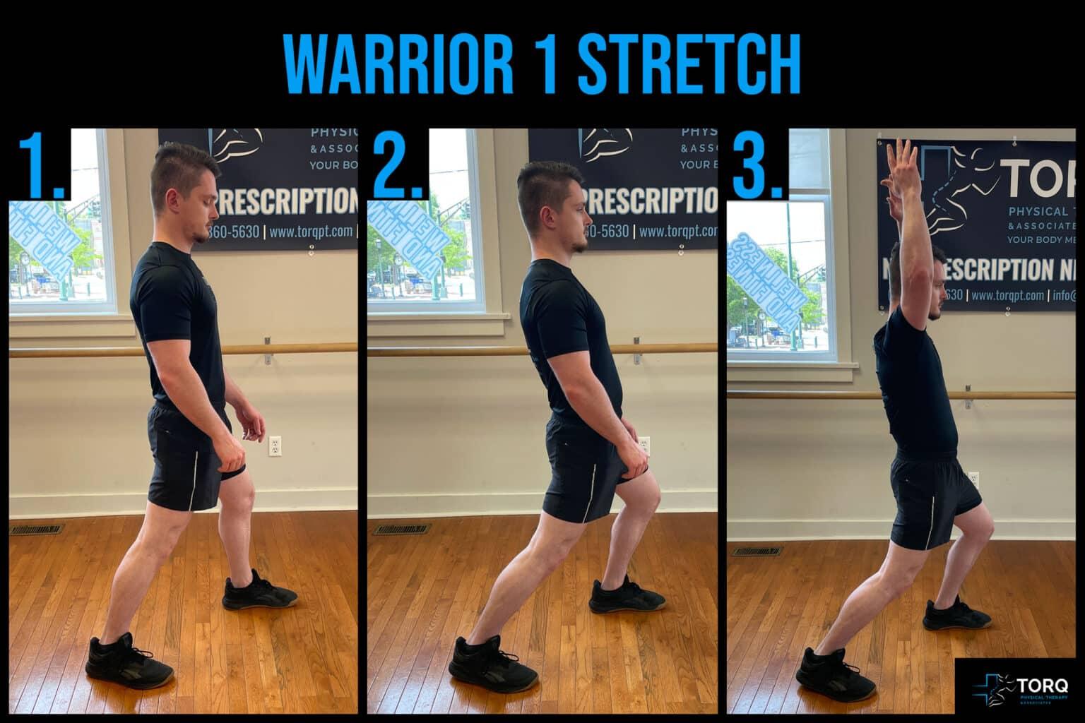 warrior 1 stretch back pain with fishing