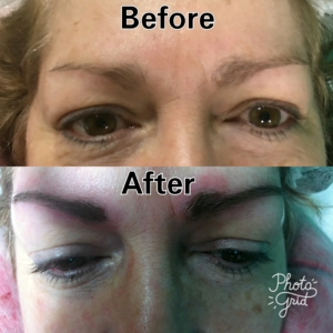 permanent makeup eyeliner and eyebrows before and after