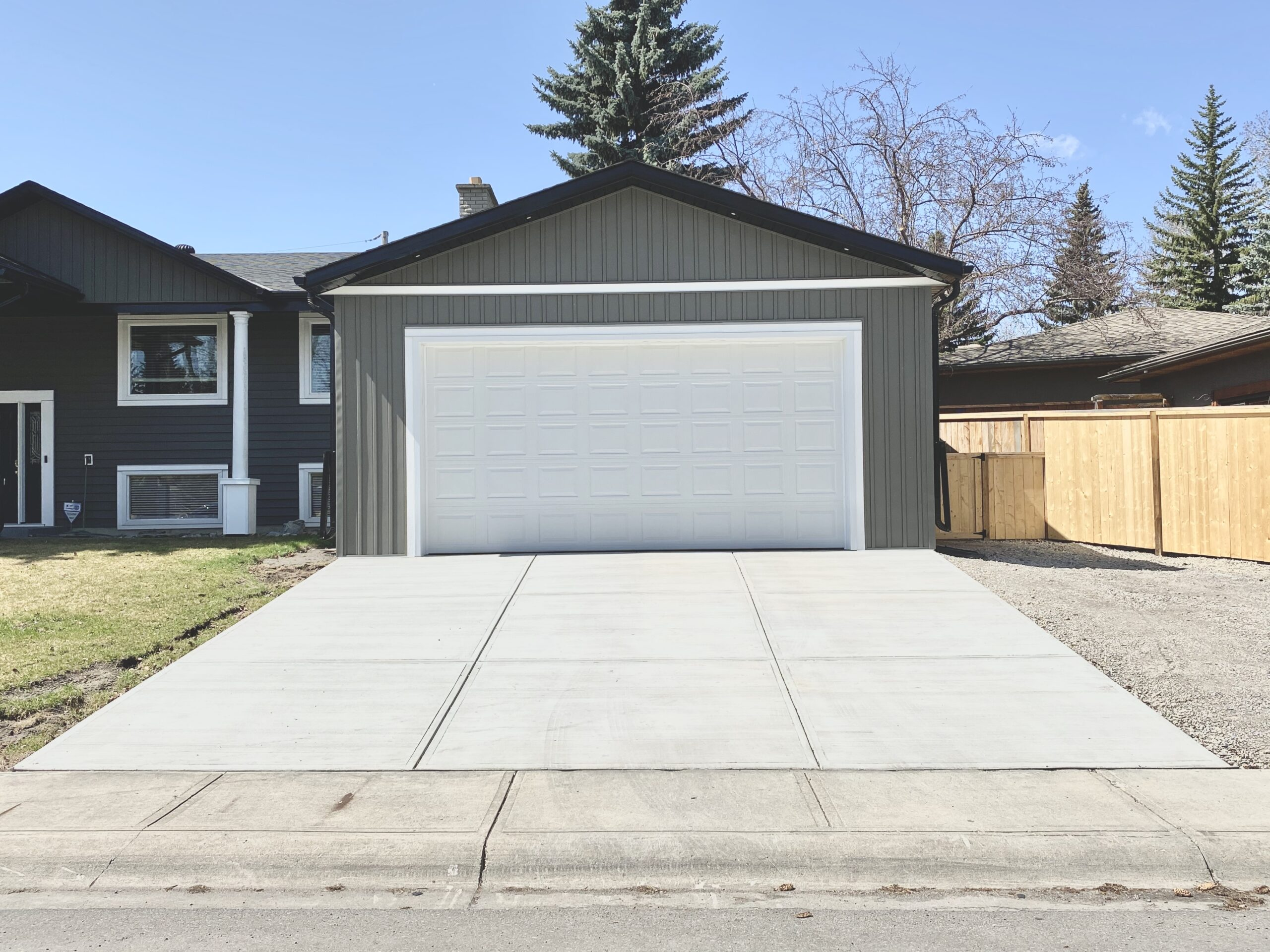 New Garage, Workshop Addition and Driveway in Willow Park, Calgary, Alberta