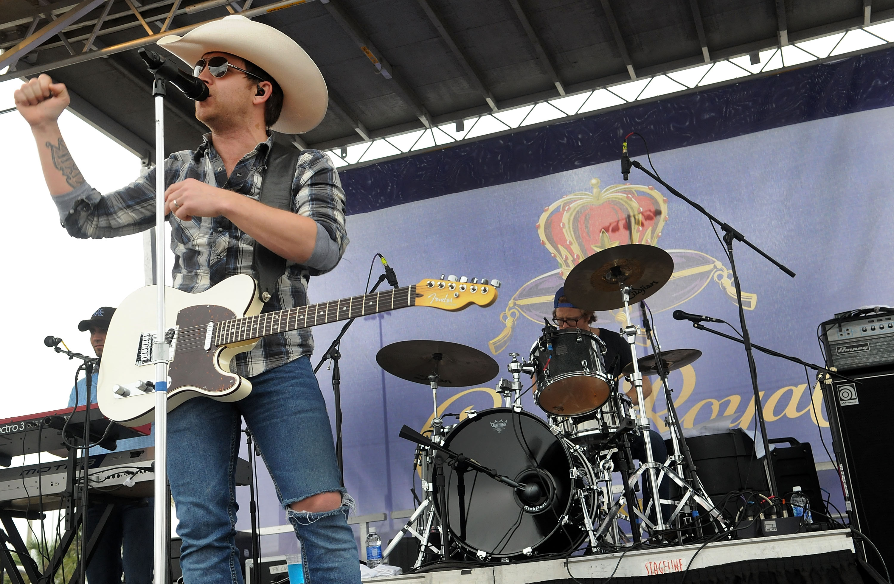 Justin Moore teams up with Crown Royal to launch their annual 'Your Hero's Name Here' program with a special concert prior to the Daytona 500 at Daytona International Speedway on February 24, 2013 in Daytona Beach, Florida. (Photo by Gerardo Mora/Getty Images for Crown Royal)