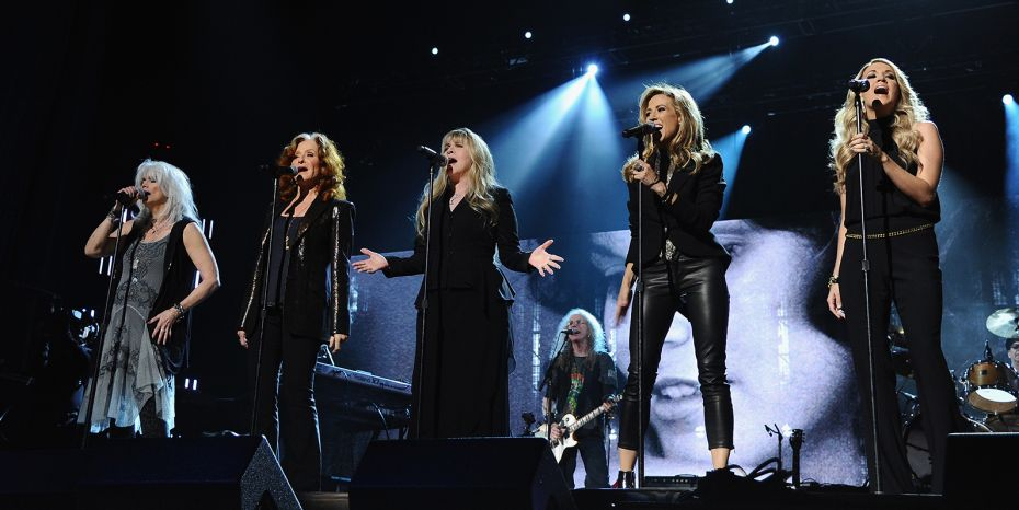 Top Photo L-R: Emmylou Harris, Bonnie Raitt, Stevie Nicks, Sheryl Crow, Underwood (Photo by Dimitrios Kambouris/WireImage for the Rock and Roll Hall of Fame)