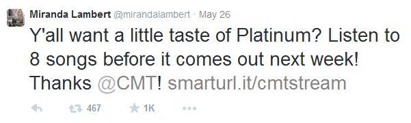 Miranda Lambert CMT Tweet - CountryMusicRocks.net