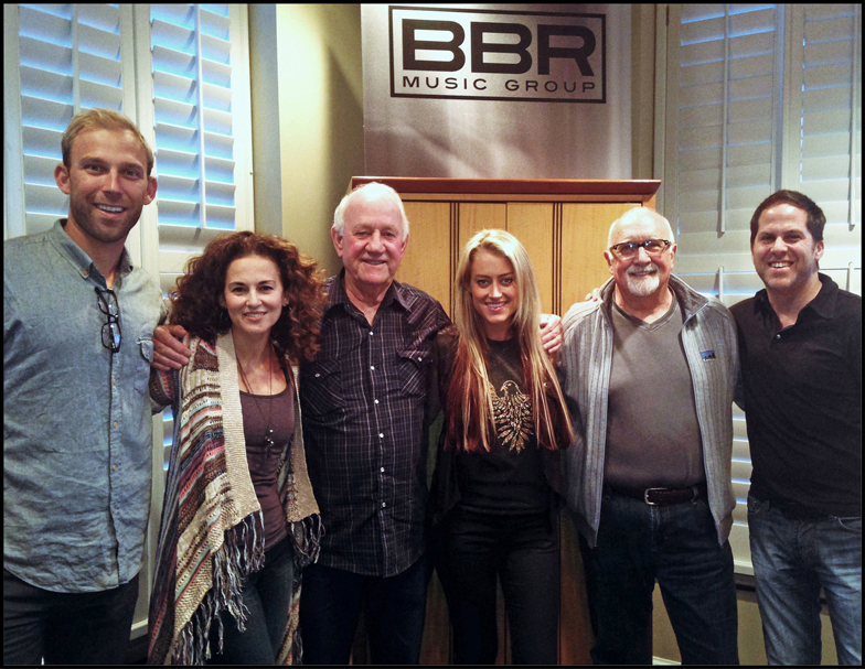 (L to R: Fitzgerald Hartley's Nick Hartley; Sherrie Austin; BBR Music Group's Benny Brown;  Brooke Eden; Fitzgerald Hartley's Larry Fitzgerald; BBR Music Group's Jon Loba)
