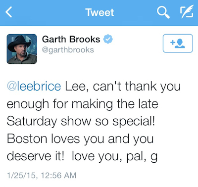Garth Brooks Tweet Lee Brice - CountryMusicRocks.net
