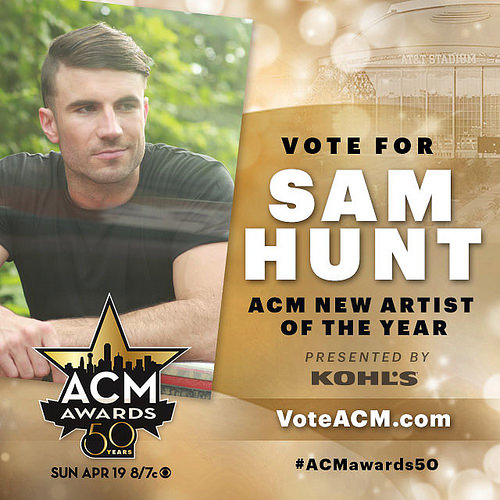 Sam Hunt ACM New Artist of the Year Nominee 2015 - CountryMusicRocks.net