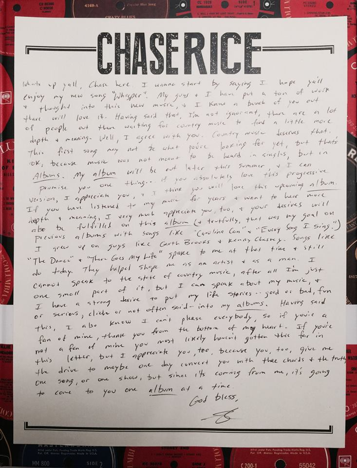 Chase Rice Letter to Fans - CountryMusicRocks.net