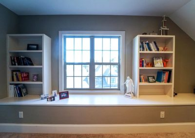 Attic Remodel Built-in Bookshelves