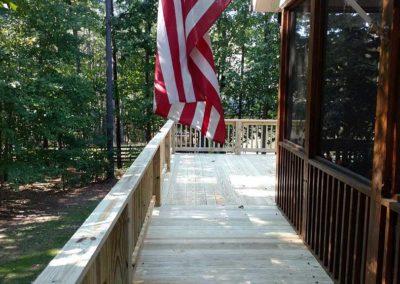 deck around screened porch closeup