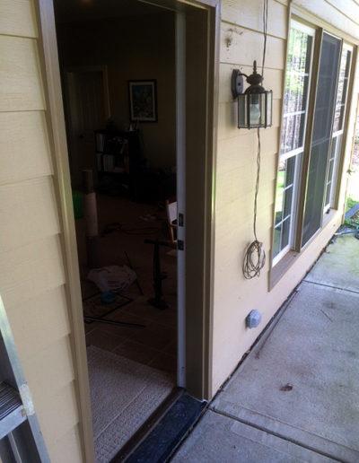 Installation of new door jam