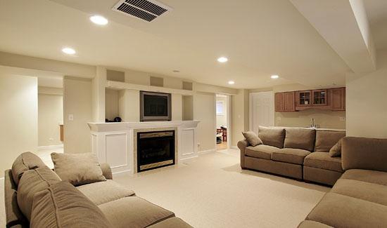 Family Room in Basement Remodel
