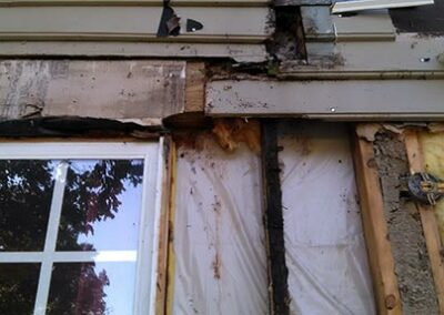 Wood rot damage from leaky porch roof