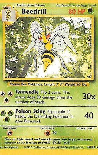 1999 Pokemon Base Unlimited #017 Beedrill