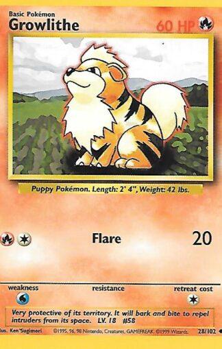 1999 Pokemon Base Unlimited #028 Growlithe
