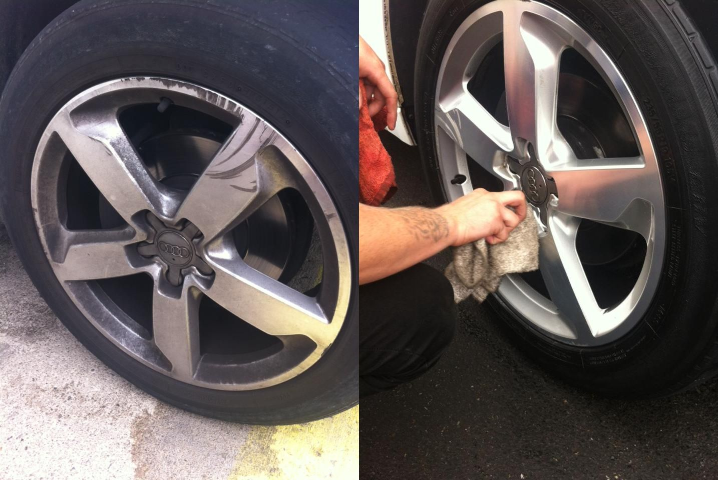 We wipe off excess tire shine, reducing splatters. Your rims are wiped dry for that crisp, clean finish.