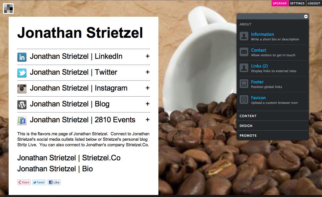 Jonathan Strietzel   Flavors.Me   Bio   Social Media