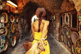 walking hand in hand through the southern italian town ravello along the armalfi coast