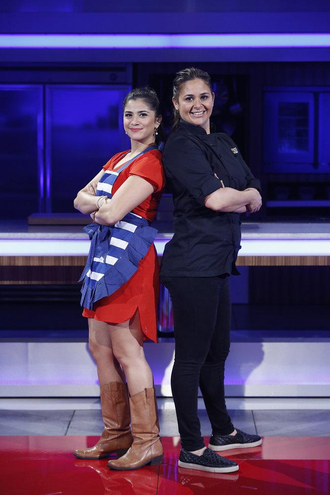 FOOD FIGHTERS -- Episode 210 -- Pictured: (l-r) Jacky Herrera, Antonia Lofaso -- (Photo by: Greg Gayne/NBC)
