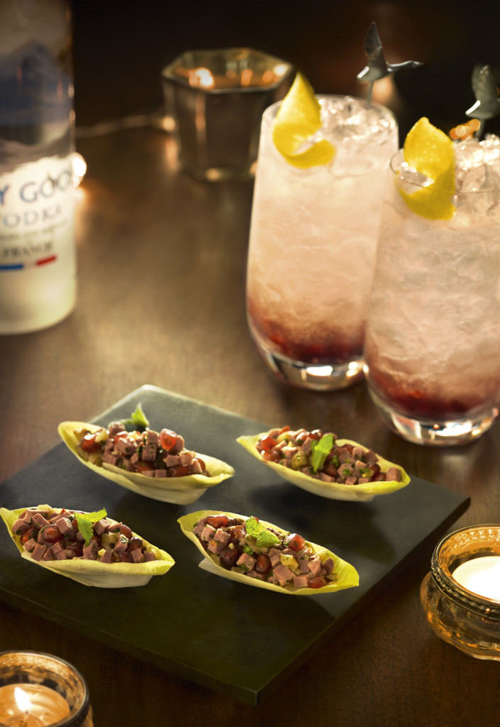 Chicory Bites with smoked duck, pomegranate and mint paired with GREY GOOSE Noe¦êl Rouge