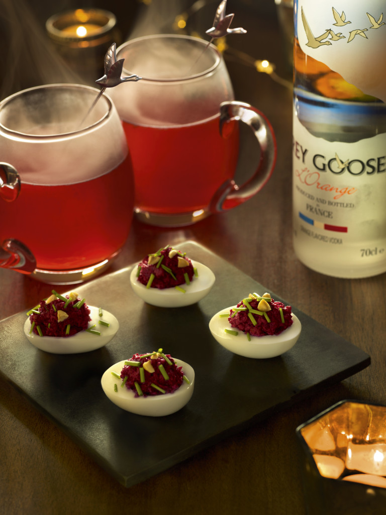 Devilled Eggs with GREY GOOSE and beetroot caviar paired with GREY GOOSE E¦ütoile de Picardie