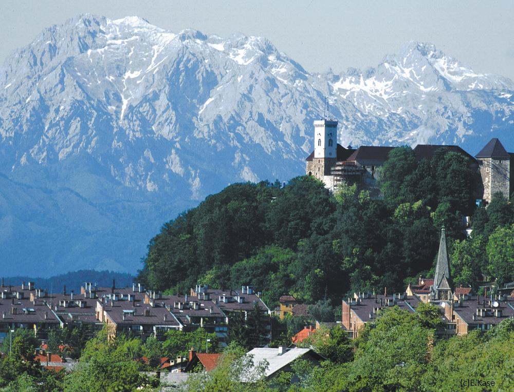slovenia ljubljana castle moutain background