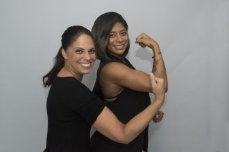 Soledad OBrien and Massy Arias show their strength during PowHERful LA 2016