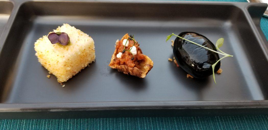 Dubrovnik Restaurant 360 Amuse Bouche parmesan marshmallow chorizo baby eggplant