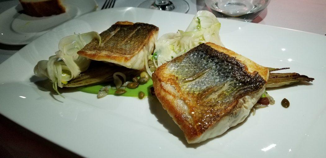 Korcula Lesic Dimitri Brancin Sea Bass endive pea puree chorizo cuttlefish