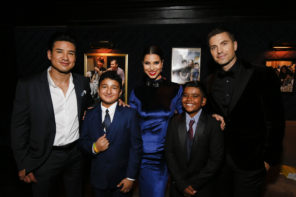Mario Lopez Roselyn Sanchez Eric Winter with RMHLA kids Vincent and Ruben Photo by Ryan MillerCapture Imaging