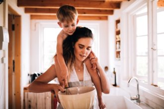 cooking food baking kitchen bowl child toddler home together mom t20 pxJxod