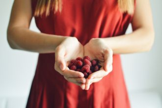 girl with berries in red dress t20 YQ4E6O