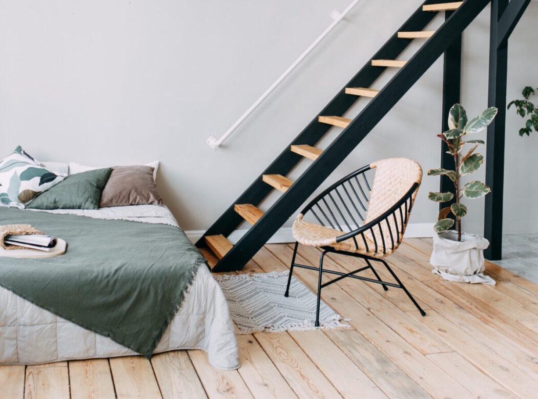 scandinavian style bedroom design light room bed stairs chair modern minimalist interior eco friendly t20 R0ee2k