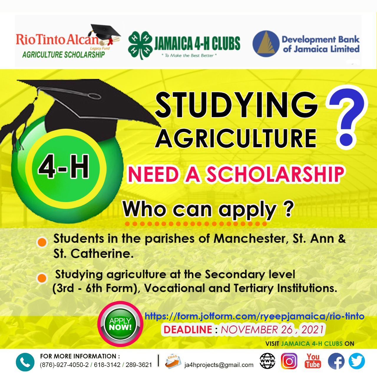AGRICULTURE SCHOLARSHIPS AVAILABLE.