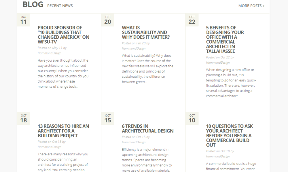 Blog Feature in WordPress Website by Tallahassee Website Design Firm