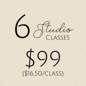 6 studio classes: $99