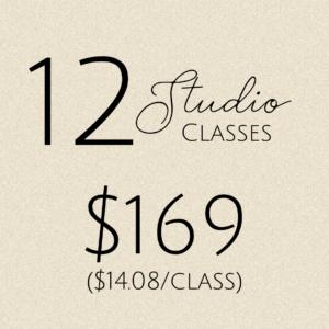 12 studio classes: $169
