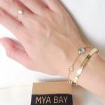 BLUE TOPAZ BRACELET & MYA BAY GOLD BANGLE