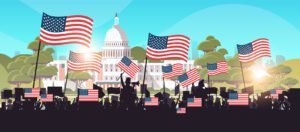 Illustration of people silhouetted against the White House, illustrating how to ensure effective public participation.